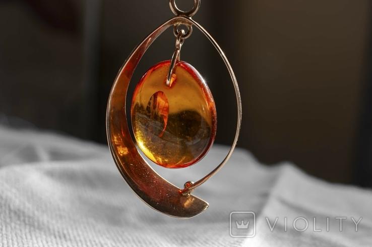 Золотий гарнітур з бурштином., фото №6