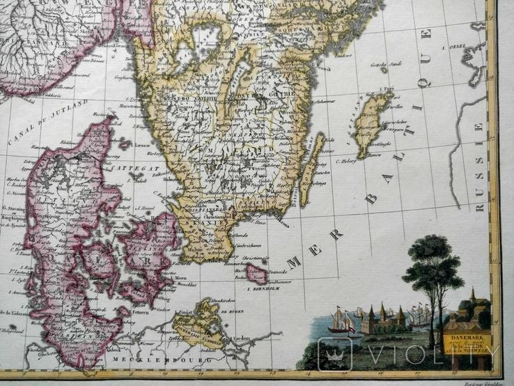 1809 Дания Швеция Норвегия (карта 34 х 25 Верже) СерияАнтик