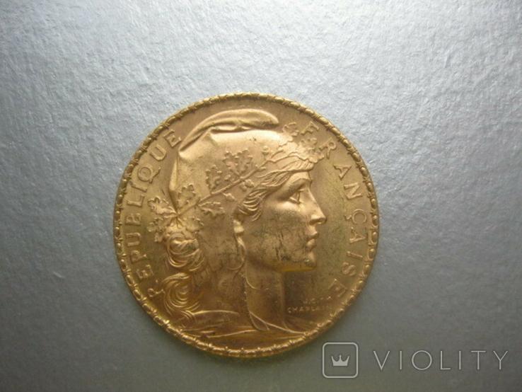 20 франков 1906 год Франция ( Петух), фото №3
