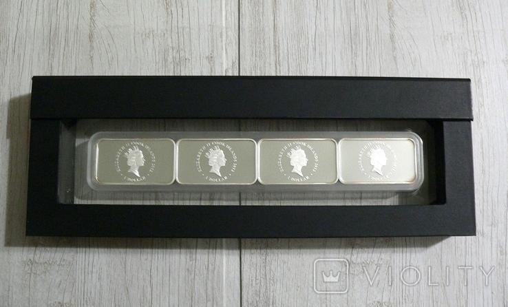 Набор из 4 монет Год Дракона - 4 унции, серебро 999, фото №4