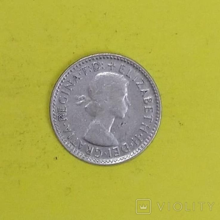Австралія 6 пенсів, 1955р. Срібло., фото №2