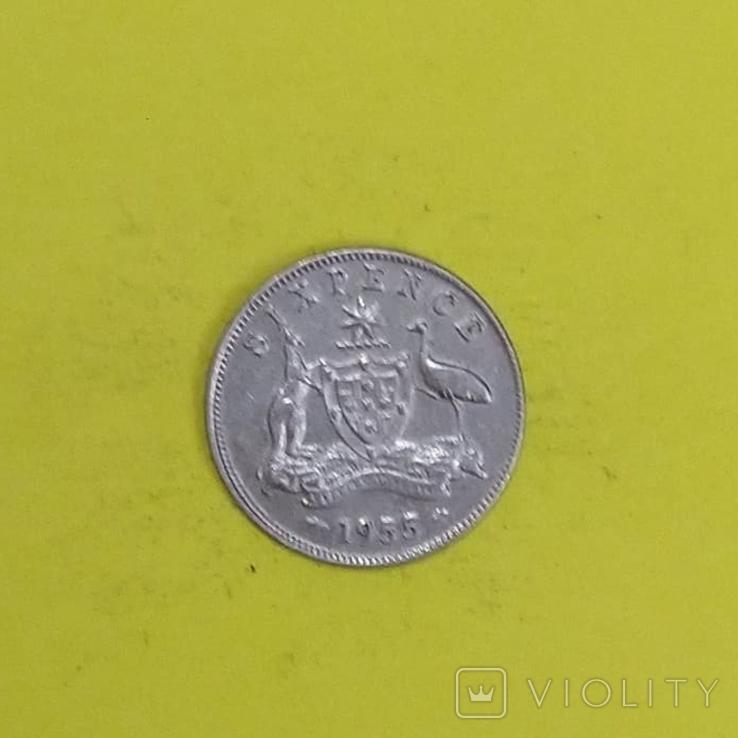 Австралія 6 пенсів, 1955р. Срібло., фото №3