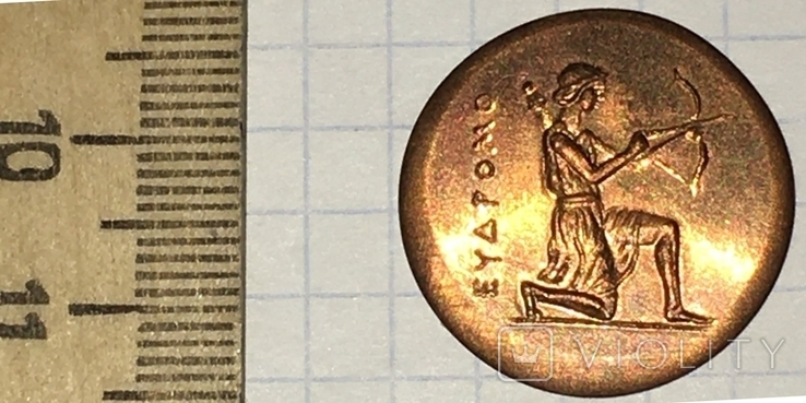 Херсонес. 330-310 г.д.н.э. Дихалк. Медь / дева, грифон, копия, фото №4