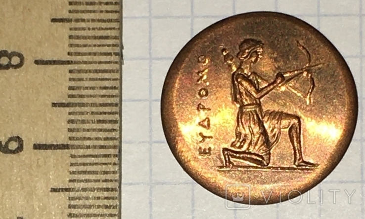 Херсонес. 330-310 г.д.н.э. Дихалк. Медь / дева, грифон, копия, фото №6