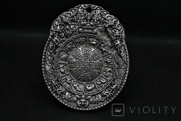 Двосторонній кулон із метеорита Aletai, 52,5 грам, із сертифікатом автентичності, фото №2