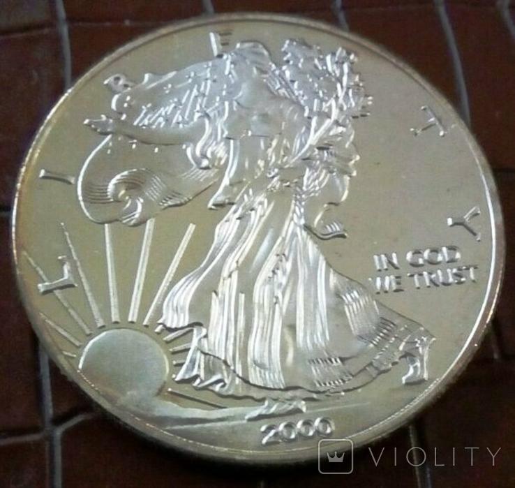 1 долар  2000 року США /репліка/ копія,посрібнення 999,, фото №3
