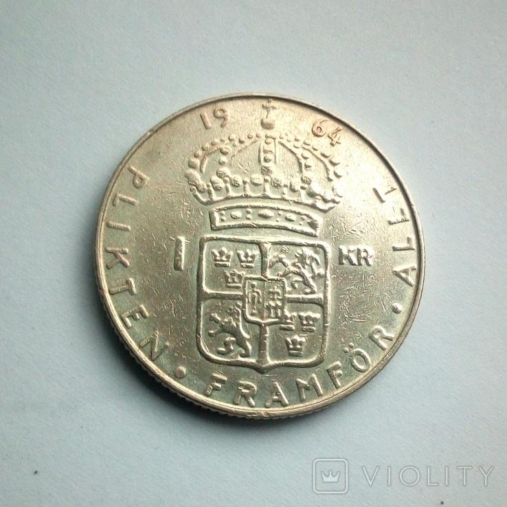 Швеция 1 крона 1964 г. - серебро, фото №4