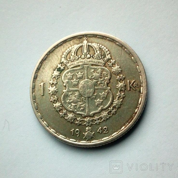 Швеция 1 крона 1942 г. - серебро, фото №3