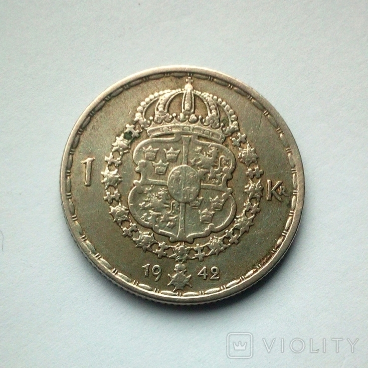 Швеция 1 крона 1942 г. - серебро, фото №7