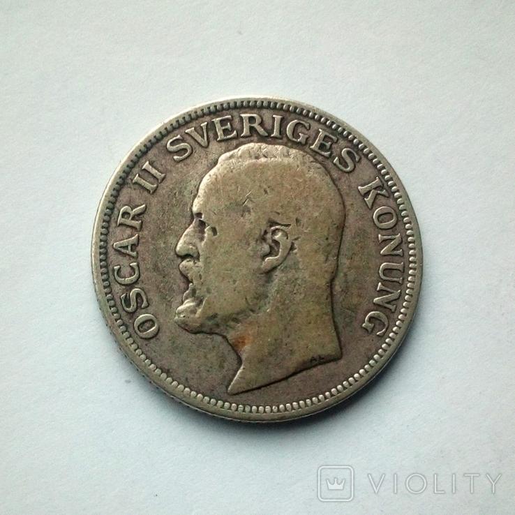 Швеция 1 крона 1907 г. - Оскар II - серебро, фото №2