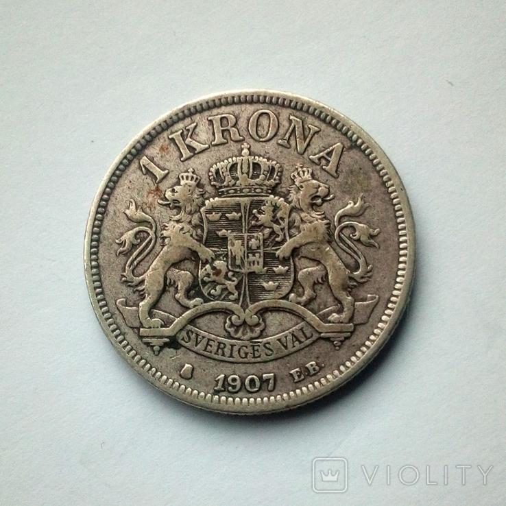 Швеция 1 крона 1907 г. - Оскар II - серебро, фото №6