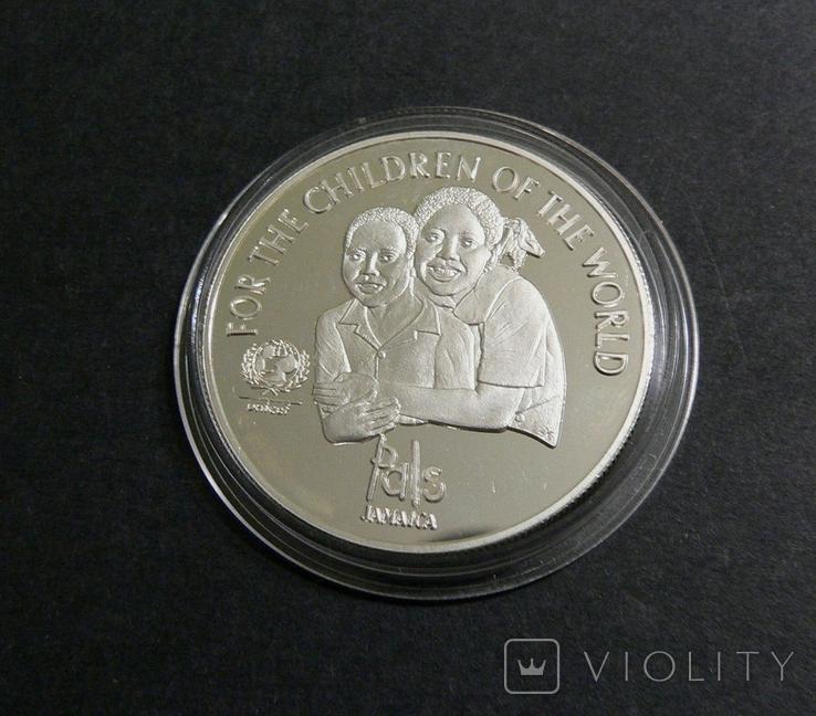 Ямайка, 25 долларов, 2001 - ЮНИСЕФ - серебро, фото №3