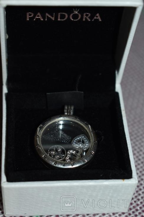 Кулон с подвижными вставками Pandora серебро 925 проба вес 13,2 грамм в коробке оригинал, фото №3