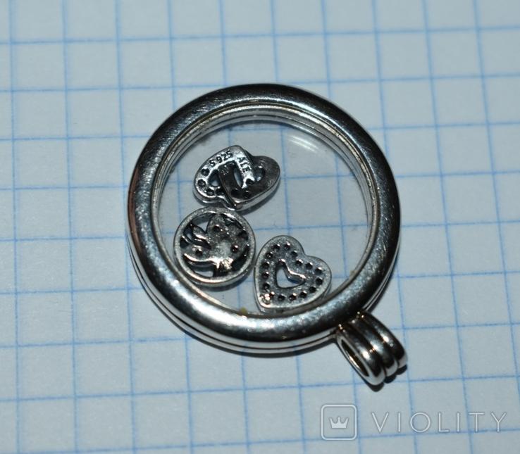 Кулон с подвижными вставками Pandora серебро 925 проба вес 13,2 грамм в коробке оригинал, фото №6