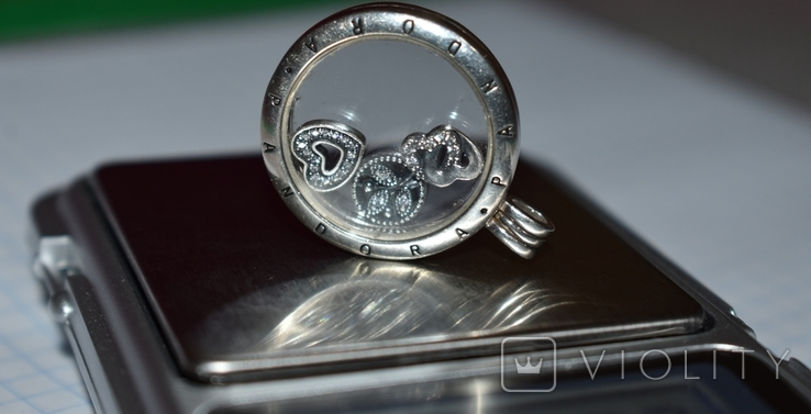 Кулон с подвижными вставками Pandora серебро 925 проба вес 13,2 грамм в коробке оригинал, фото №13
