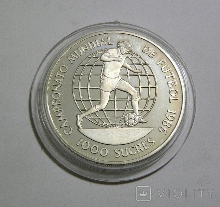 Эквадор, 1000 сукре, 1986 - Чемпионат Мира по футболу 1986 (один игрок) - серебро, фото №2