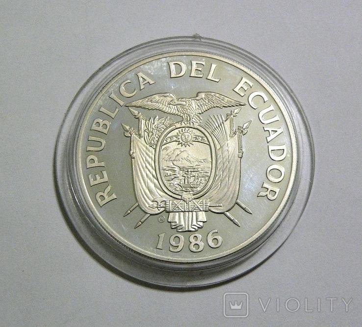 Эквадор, 1000 сукре, 1986 - Чемпионат Мира по футболу 1986 (один игрок) - серебро, фото №3