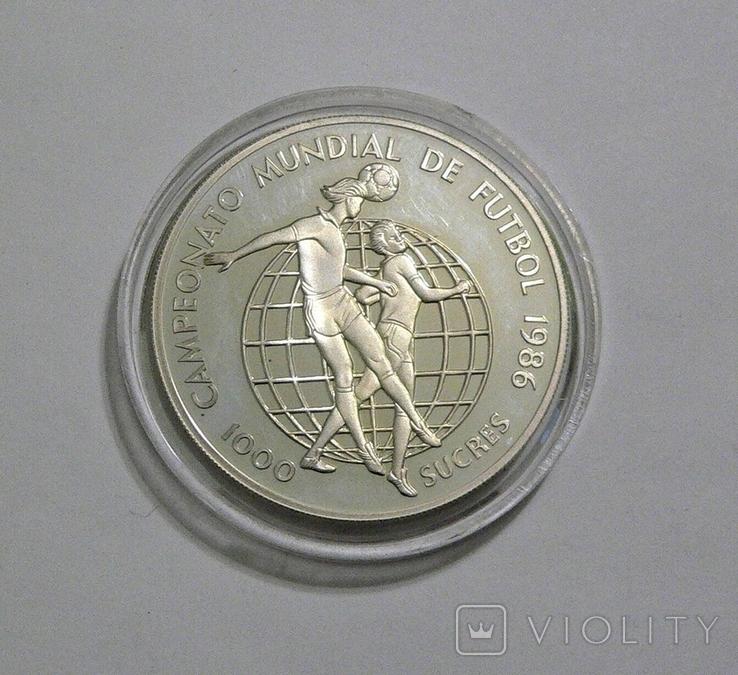 Эквадор, 1000 сукре, 1986 - Чемпионат Мира по футболу 1986 (два игрока) - серебро, фото №2