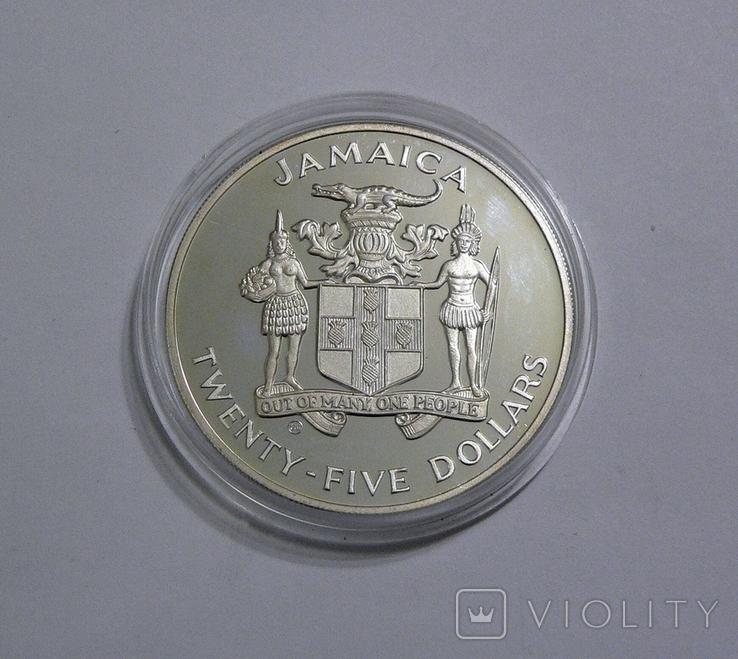 Ямайка, 25 долларов, 1986 - Чемпионат Мира по футболу 1986 - серебро, фото №3