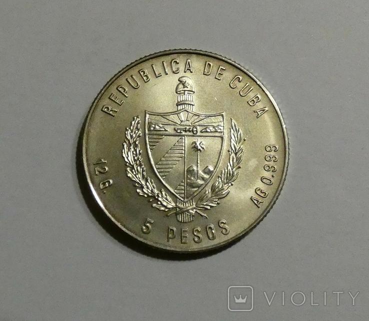 Куба, 5 песо 1981 - Продовольственная программа - Сахарный тростник - серебро 999, фото №3