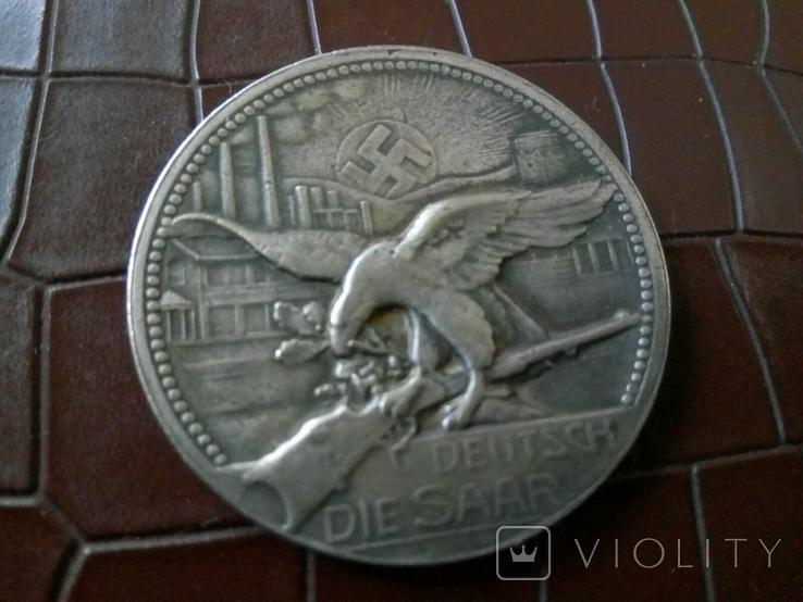 Медаль памятна 1935- Саар Німеччина.-копія , не магнітна, посрібнення 999, фото №3