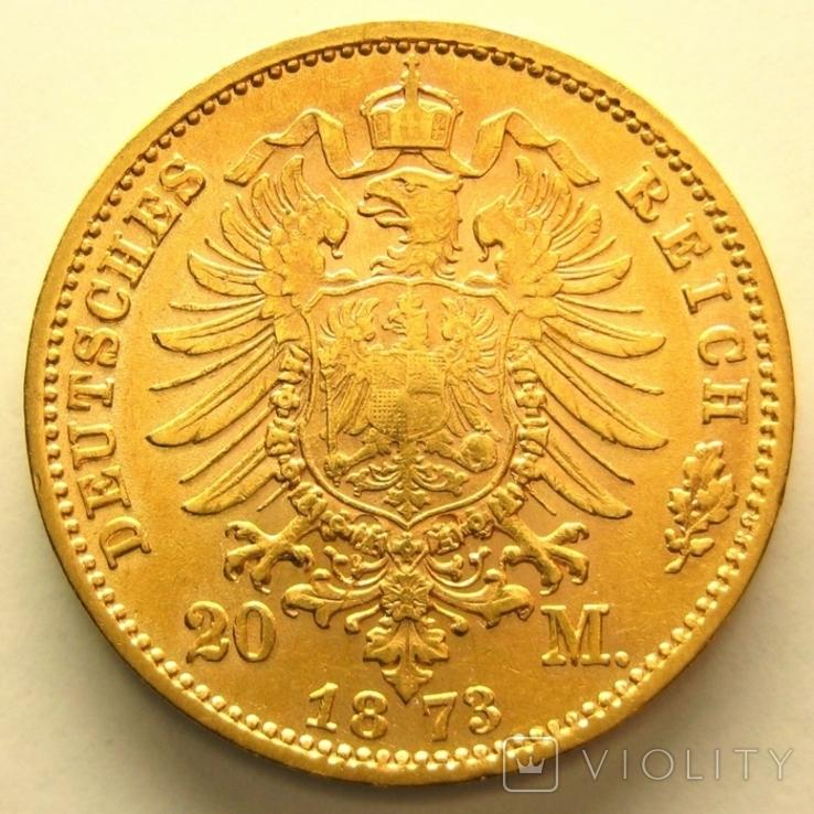 Саксония 20 марок 1873 г., фото №3