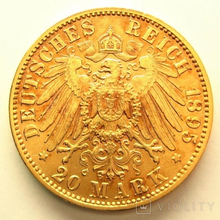 Саксония 20 марок 1895 г., фото №3