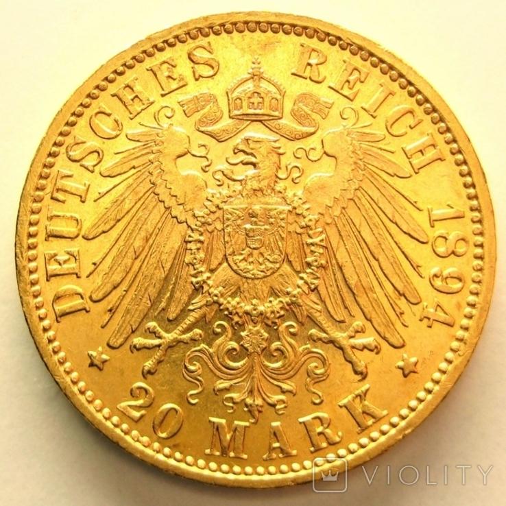 Вюрттемберг 20 марок 1894 г., фото №3