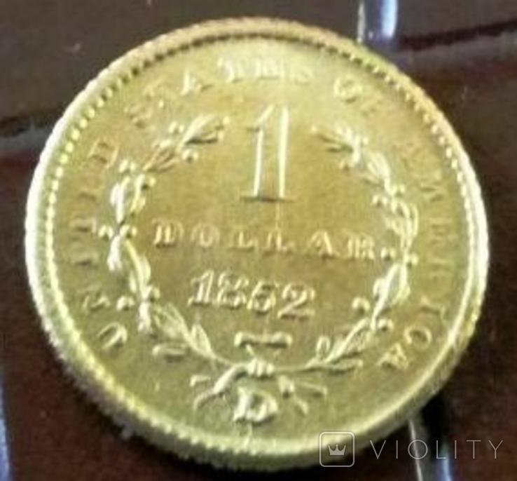 1 долар  1852 року США /репліка/ копія золотої, фото №2