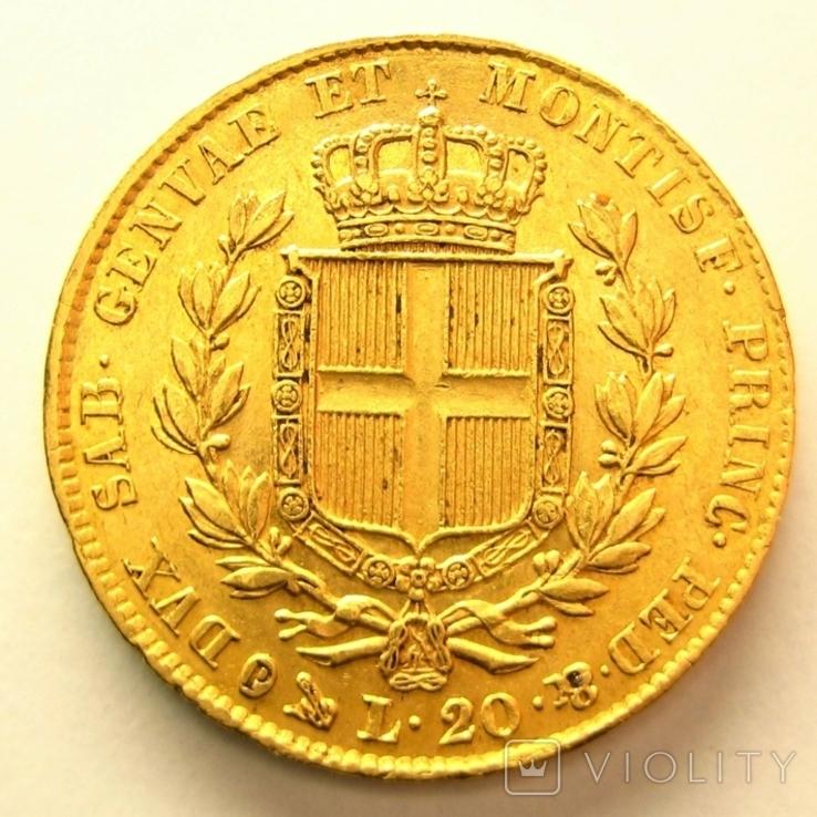 Сардиния 20 лир 1832 г., фото №3