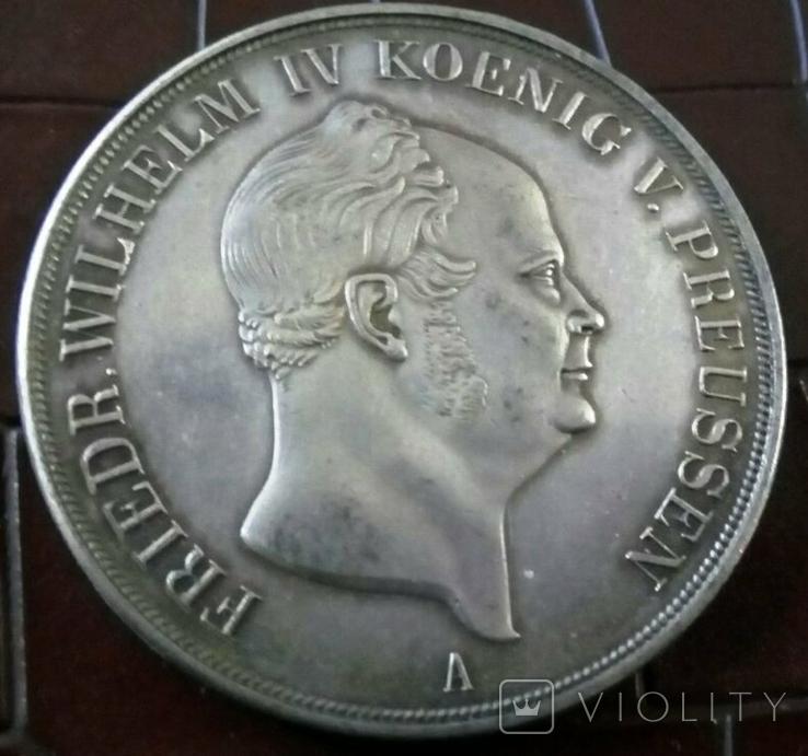 2 таляра  1853 року Пруссія ///копія/ посрібнення 999, фото №3