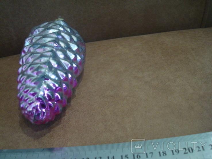 Большая ёлочная игрушка толстое стекло 17см., фото №6