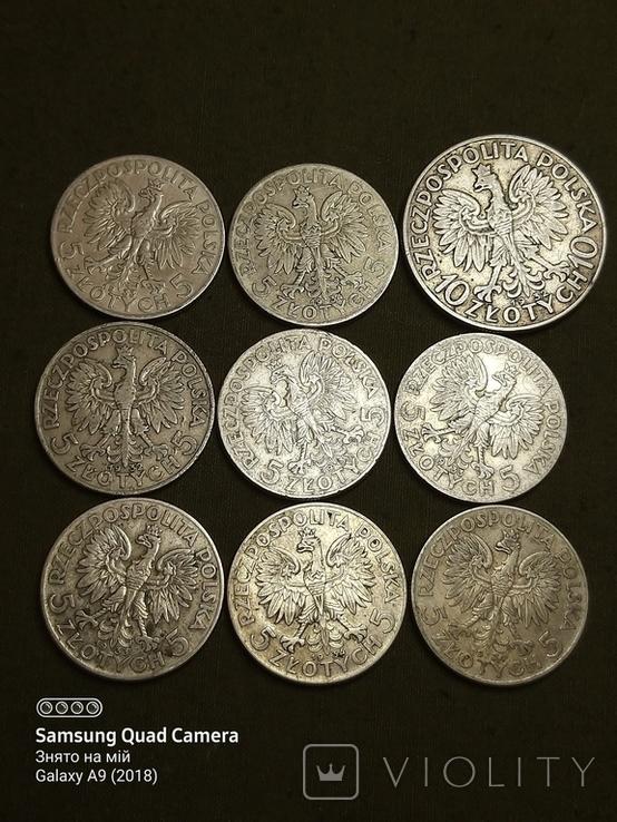 5 і 10 злотих ,Польща,срібло,1932,33,34., фото №3