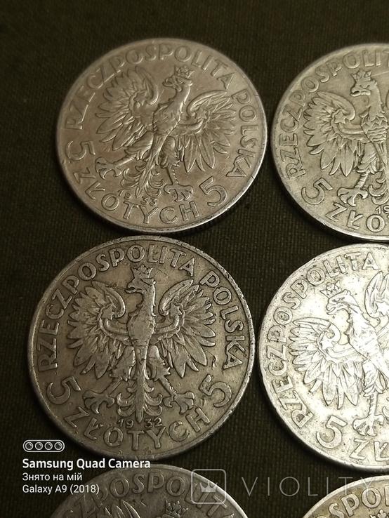 5 і 10 злотих ,Польща,срібло,1932,33,34., фото №4