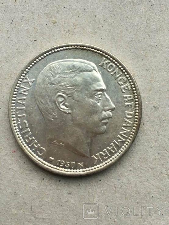 Дания 2 кроны юбилейные 1930 г., фото №2