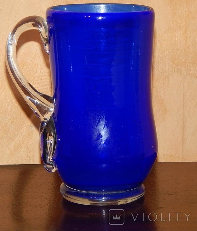 Кувшин-ваза толстое стекло кобальт, фото №11