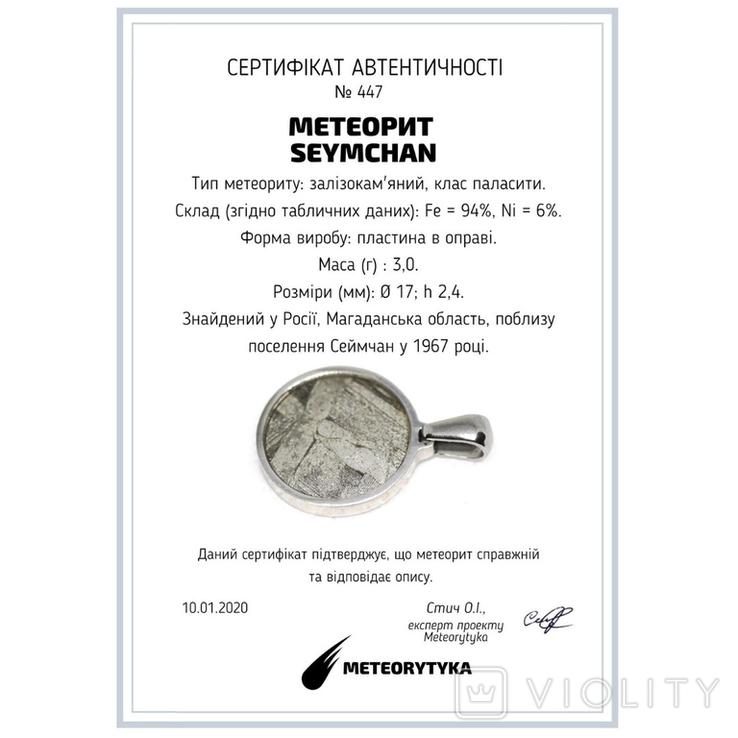Підвіска із залізо-камяним метеоритом Seymchan, із сертифікатом, фото №3