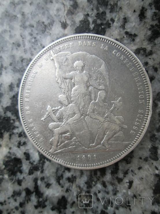 Швейцария 5 франков 1881 год, фото №3