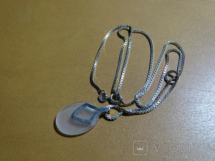 """Кулон с цепочкой """"Капля счастья"""". Серебро, камень, клейма., фото №4"""