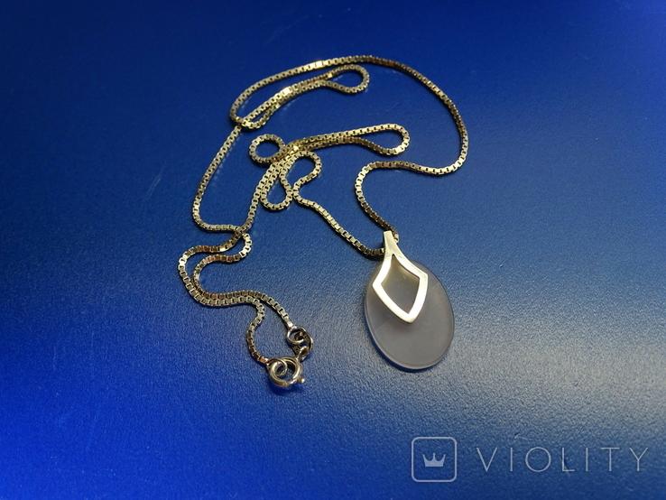 """Кулон с цепочкой """"Капля счастья"""". Серебро, камень, клейма., фото №2"""