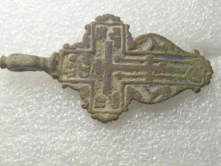 Крест большой , листик с остатками эмали, фото №2