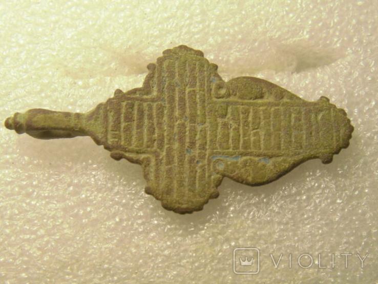 Крест большой , листик с остатками эмали, фото №4