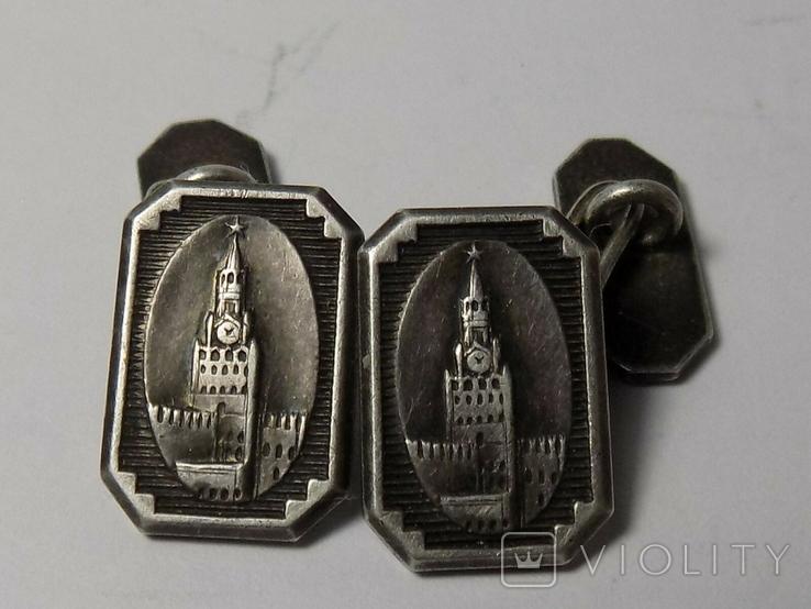 Кремль серебро запонки- клеймо голова, фото №3