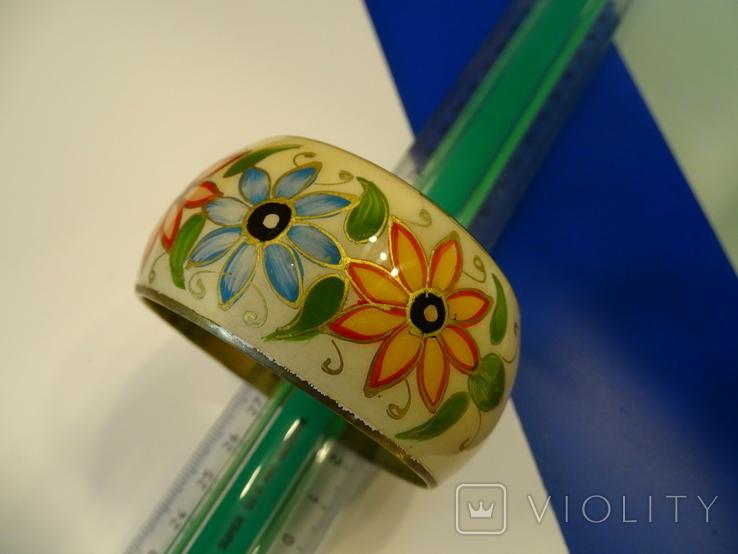 Винтажный браслет-обруч. Латунь. Эмали., фото №12