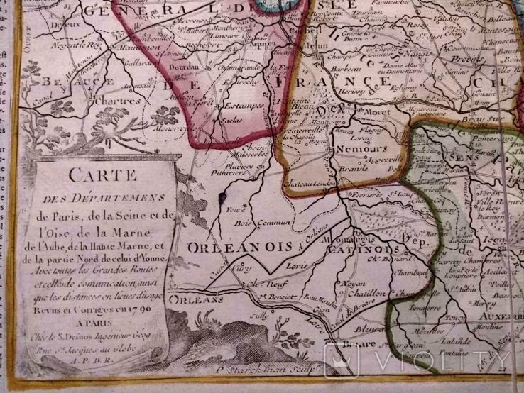1790 Шампань, Париж, Деснос (большая карта 52х33 Верже) СерияАнтик, фото №7