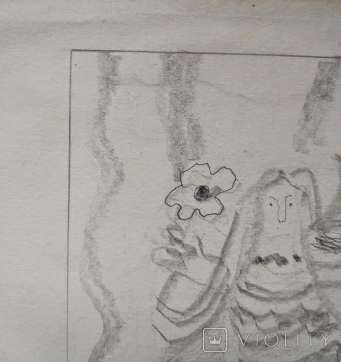 "Л.Ястреб ""Монументальный эскиз"",б.карандаш,31х21см,1970-е гг., фото №3"