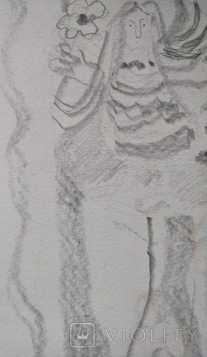 "Л.Ястреб ""Монументальный эскиз"",б.карандаш,31х21см,1970-е гг., фото №6"