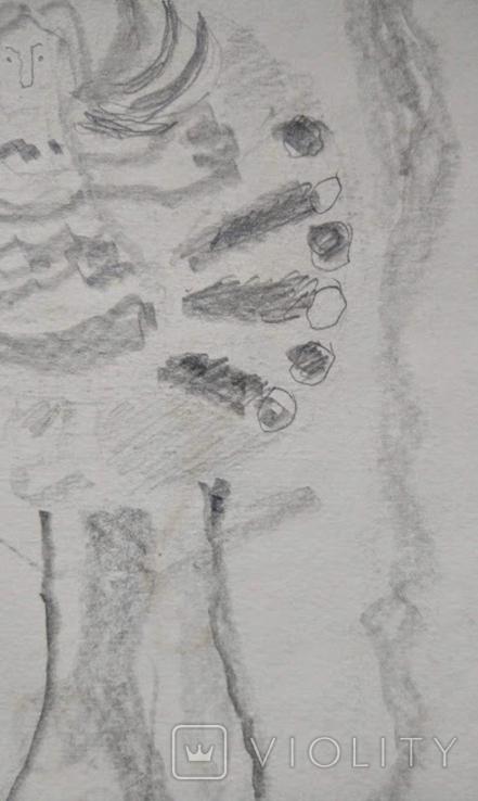 "Л.Ястреб ""Монументальный эскиз"",б.карандаш,31х21см,1970-е гг., фото №7"