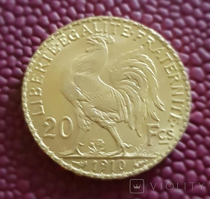 Франция, 20 франков 1910г., золото 6,45 грамм, фото №3