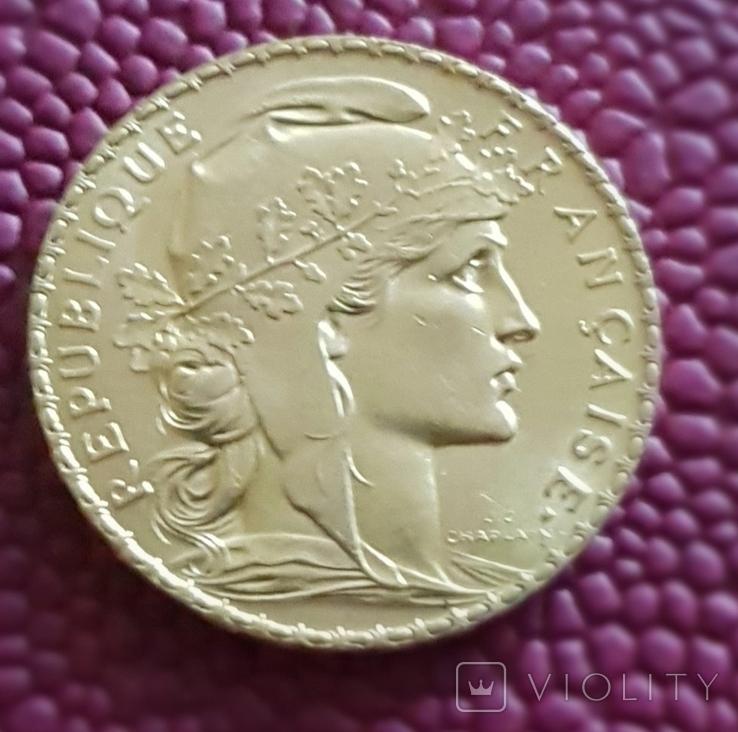 Франция, 20 франков 1910г., золото 6,45 грамм